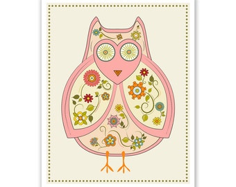 Children's Wall Art / Nursery Decor / Kid's Room Art Print Owl print by Finny and Zook