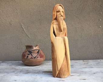 1989 Wood Carving Ernesto Salazar Taos New Mexican Folk Art Carved Wood Saint, Spanish Colonial