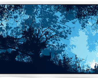 Gap in the Forest. Hand made screen print of deer - animals - nature - forest