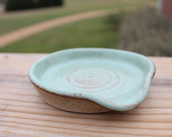 Speckled Mint Pottery Spoon Rest Wheel Thrown Speckled Brown Stoneware Clay Handmade