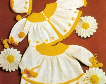 PATONS 1132 Vintage Knitting Pattern for Daisy Princess Outfit Instant Download