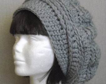 FREE SHIPPING Slouchy beret hat oversized baby wool blend