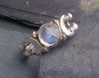 Triple GODDESS Ring with 7mm Rainbow Moonstone Cabochon Moon in Sterling Silver by KAM