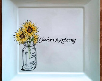 Unique Wedding Guest Book Alternative Personalized Platter Sign in Signature Plate Custom Guestbook Ideas Anniversary Shower Retirement Gift