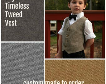Tweed Vest, Tweed Wool Vest, Tweed Look Vest, Brown Wool Vest, Brown Tweed Vest, Tan Tweed Vest, Boys Tweed Vest, Ring Bearer, Baby Boy Vest