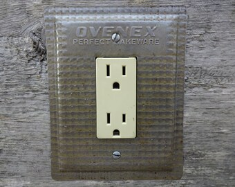 Antique Kitchen Light Switch Cover GFCI Outlet Rocker Switchplate Lighting Made From Vintage Ovenex Baking Pan Pans GFC-3036