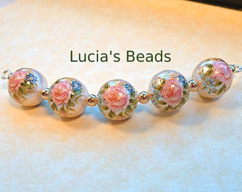 NEW PRETTY Japanese Tensha Beads Pink Rose on Pearl 10 MM