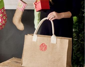 Monogrammed Burlap Tote Bag, Bridesmaid gifts, Burlap Bag, Monogrammed Burlap Tote, Gifts for her, Personalized Burlap Tote, Tote Bags, Tote