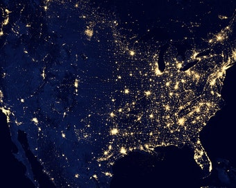 United States at night, NASA image, night sky, astronomy, high resolution -- item no 61