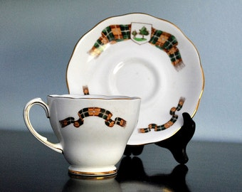 Vintage Plaid Cup and Saucer by Roslyn of England