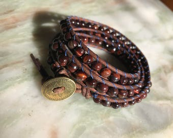 Red Tiger's Eye Wrap Bracelet