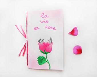 Gift card, Love card, with blank envelope, wish card, greeting card, handmade, la vie en rose 13.5 x 8.5 cm
