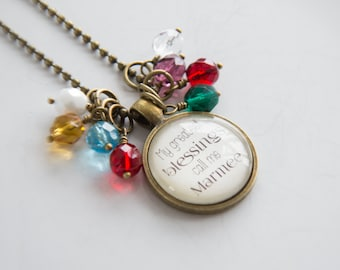 Marmee Pride Necklace - Blessed Necklace - Birthstone Jewelry - Greatest Blessings Inspirational Pendant - Text Jewelry Custom Necklace Name