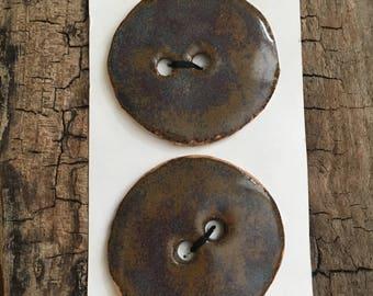 XL pottery buttons stoneware heather glaze round  50 mm