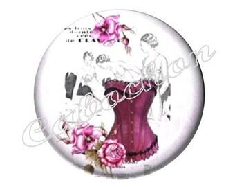 1 cabochon 25mm glass fashion Bustier