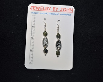 Silver Colored and Decorated Ovals with Tiger Eye and Silver Beads on Ear Wires
