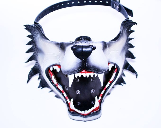 Featured listing image: Mouth of the Lycan - Handmade Genuine Leather Riding Mouth Mask for Masquerades Halloween or Cosplay Costumes - Wolf Jaws