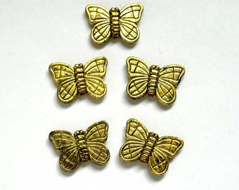 5 Antique Gold Butterfly Charm Beads- 25-17