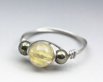 Rutilated Quartz & Pyrite Gemstone Sterling Silver Wire Wrapped Bead Ring - Made to Order, Ships Fast!