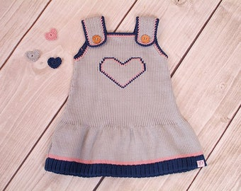Heart dress, knit dress baby, child
