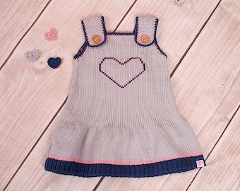 Heart dress, knit dress baby, child