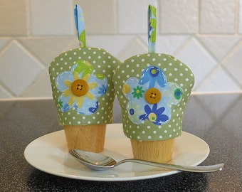 Egg Cup Cosies -Pair of Green Fabric Egg Cosies