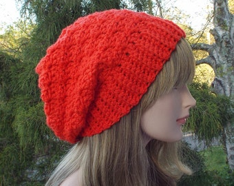 Bright Orange Crochet Hat, Womens Slouchy Beanie, Slouchy Hat, Oversized Slouch Beanie, Chunky Hat, Winter Hat, Slouch Hat, Gift for Her
