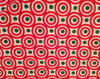 Red and Green Dots, Christmas Fabric, Flawed Fabric, Cotton