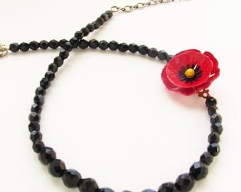Vintage red poppy enamel flower brooch necklace, Beadwork, heirloom keepsake Czech glass beaded necklace statement necklace gift for her
