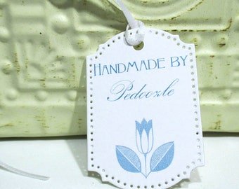 Handmade Tags -  Set of 20 - Personalized - Store tags - Blue Tulip  - Handmade by - Hang tags - Flowers