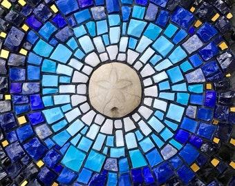 La Luna - Mosaic of Fossil Sand Dollar, Marble, Smalti, Sodalite and 24k Gold