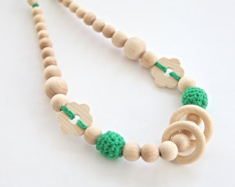 Bright green nursing rings necklace. Girls crochet necklace. Mammy and baby teething necklace.