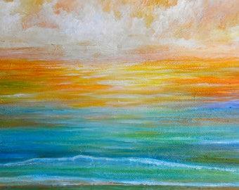 Ocean sunset wall art, beach sunset art print, ocean beach sunrise, original painting by Nancy Quiaoit.
