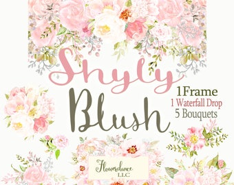 Blush flower clipart roses watercolor clip art dusty pink peony clipart pale pink sage rose cream ivory green frame drop arrangement bouquet