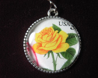 America Yellow Rose Flower 1996 23 Cents USA Genuine Vintage Postage Stamp Pendant 22mm Jewelry Necklace Chain
