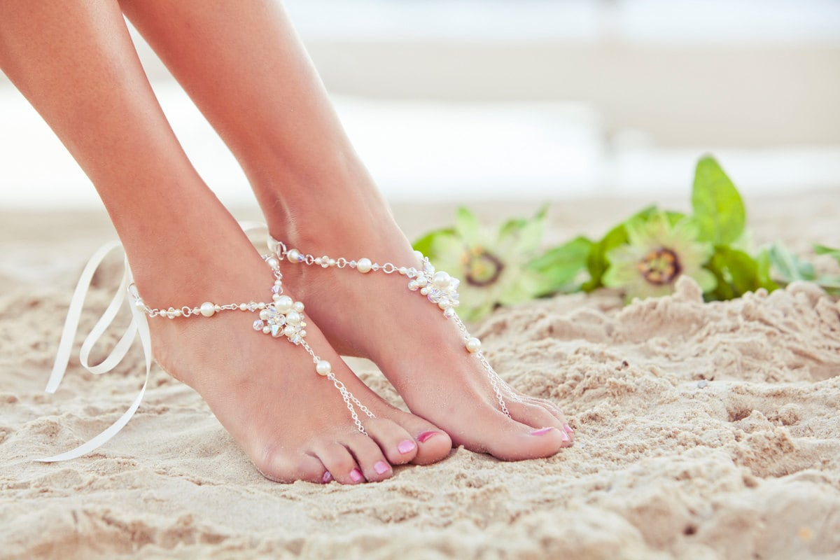 Foot jewelry beach wedding sandals bridal beach shoes zoom junglespirit Images