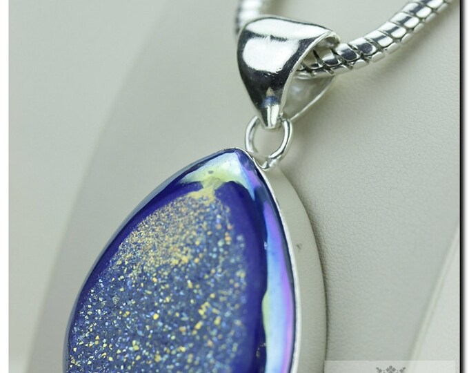 Moonshine Titanium Window Drusy Druzy 925 SOLID Sterling Silver Pendant + 4mm Snake Chain & FREE Worldwide Shipping p1334