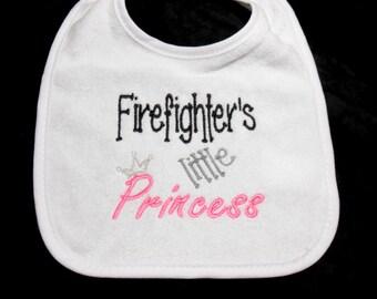 Baby girl bib, firemans baby, 0 Mo to toddler, Firefighter's, little Princess, baby shower, gift for firefighter, embroidered bib, gift for