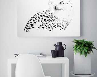 Snowy owl drawing, Owl print, charcoal drawing print, snowy owl wall art