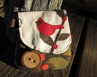 Red Bird with Berries cards, cash, and coin holder with key attachment