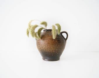 Amphora ceramic vase, jug vase, mid century ceramics, vase brown beige, Krugvase