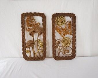Pair of Vintage Burwood Mod Art Pieces Mushroom Butterfly