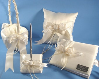 Beach Wedding Accessory Collection, Personalized Guest Book Set, Ring Bearer Pillow and Flower Girl Basket with Seashells and Engraving