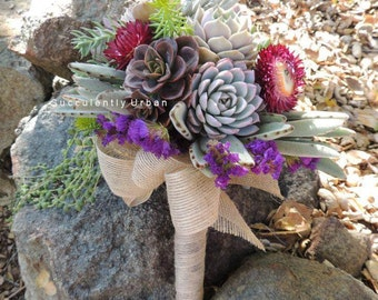 Succulent wedding bouquet and matching boutonniere