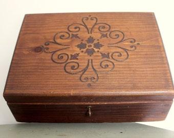 Folk Art Wood Box Pegged Divided - Tarot Playing Cards Stash Jewelry Box