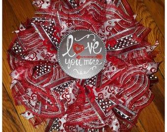 Love You More Wreath, Front Door Wreath, Anniversary Wreath, Best Door Wreath, Deco Mesh Wreath, Whimsical Wreath, Chalkboard Sign