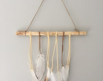 Wood wall hanging white feather and bronze Indian, wall decor, wedding decoration
