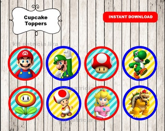 Super Mario Bros toppers instant download , Super Mario Bros cupcakes toppers labels, Printable Mario Bros party toppers