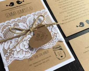 Rustic Love bird Wedding Invitations