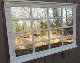 french  country   mantel mirror . distressed cottage cream
